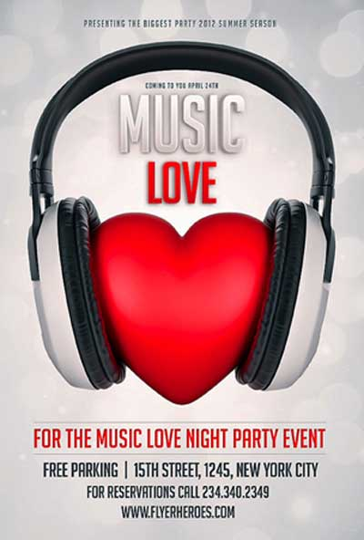 Valentines Day Music Love Flyer Template by Saltshaker911