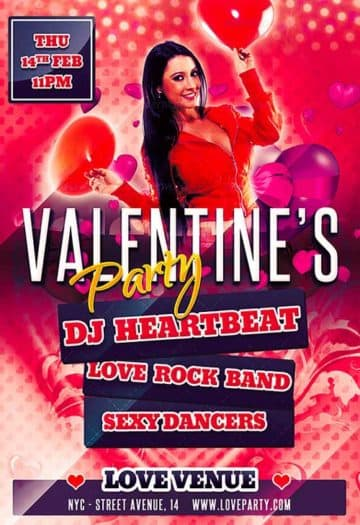 Free Valentine Party Flyer PSD Template