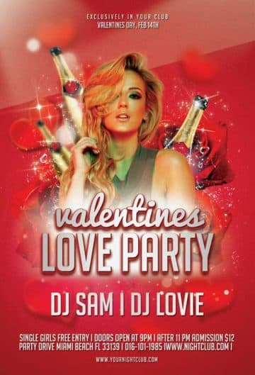 Free Valentines Love Party Flyer Template