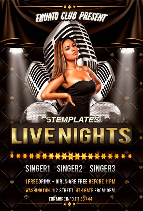 Live Nights Throwback Party Free Flyer PSD Template for Photoshop