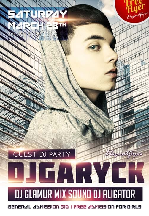 Guest Dj Party Free Club and Party Flyer PSD Template