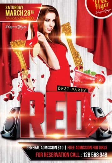 Red Party Free Club Party Flyer PSD Template