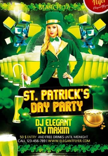 St. Patrick's Day Free Party Flyer PSD Template