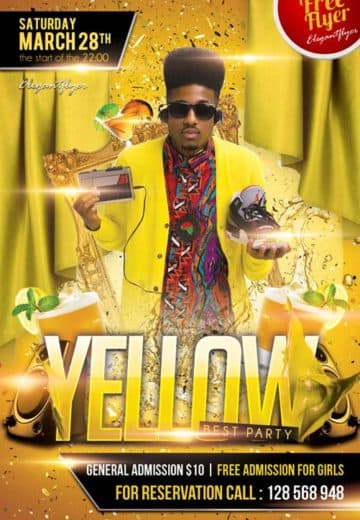 Yellow Party Free Club Party Flyer PSD Template