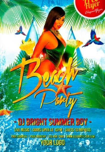 Beach Party Free PSD Flyer Template + Facebook Cover