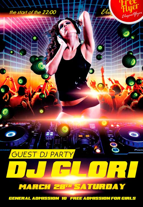 Guest Dj Party Free PSD Flyer Template