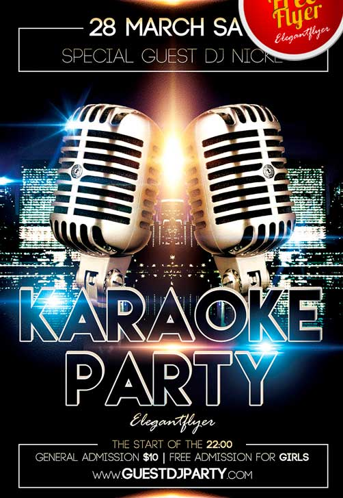 Karaoke Party Free PSD Flyer Template + Facebook Cover