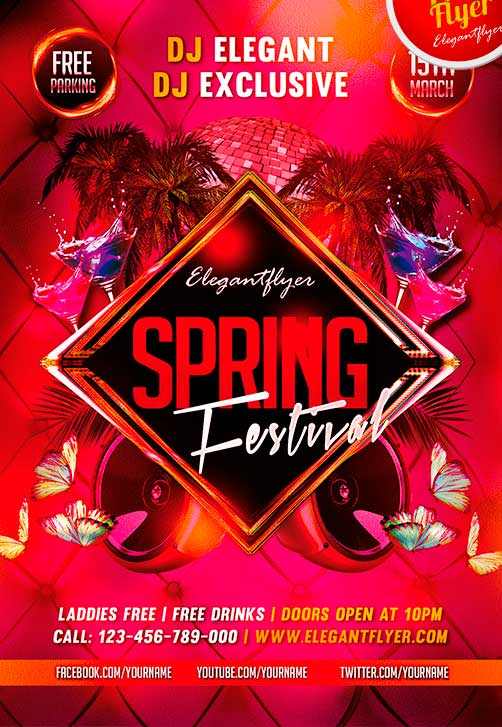 Freepsdflyer  Spring Festival Free Flyer Template  Download Spring