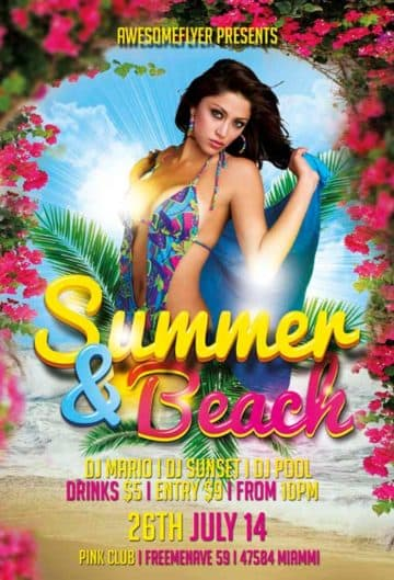 Free Summer and Beach PSD Flyer Template