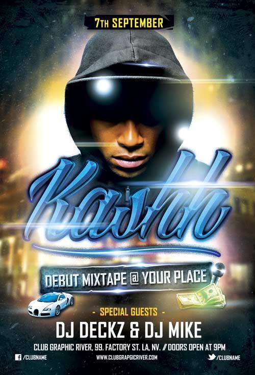 Debut Mixtape Hip Hop Free Flyer Template PSD Download