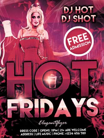 Hot Fridays – Free Flyer PSD Template + Facebook Cover
