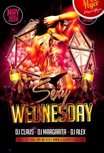 Free Sexy Wednesday Party Flyer Template