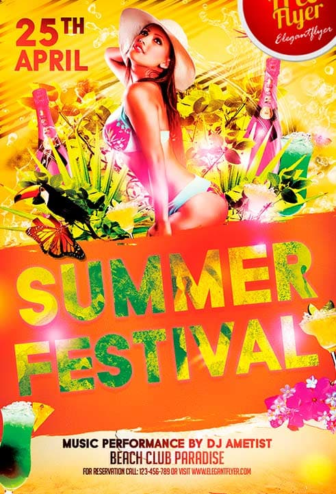 free summer festival flyer template download