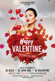 Happy Valentine Day Free Party Flyer Template
