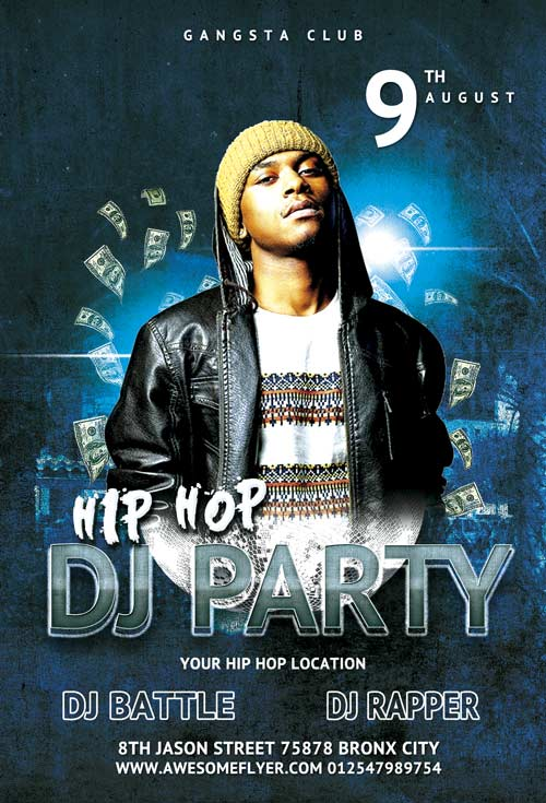 Freepsdflyer free hip hop battle dj party flyer template for Free club flyer templates
