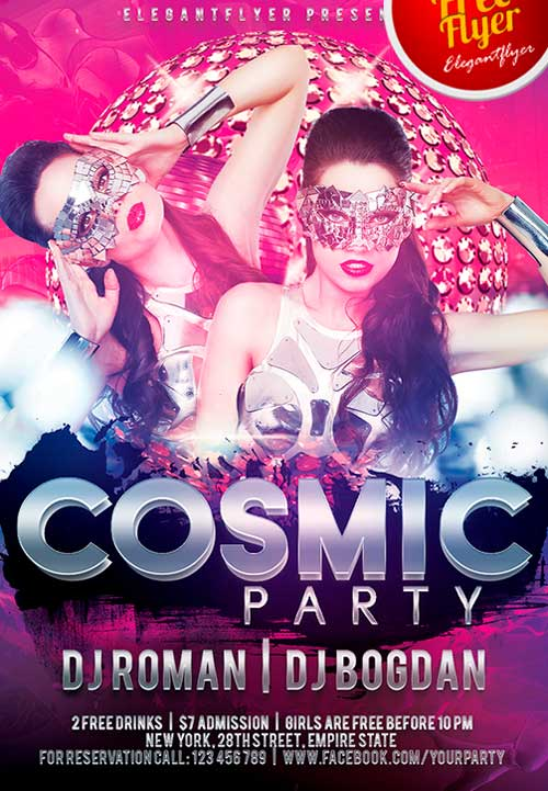 Free Cosmic Party PSD Flyer Template