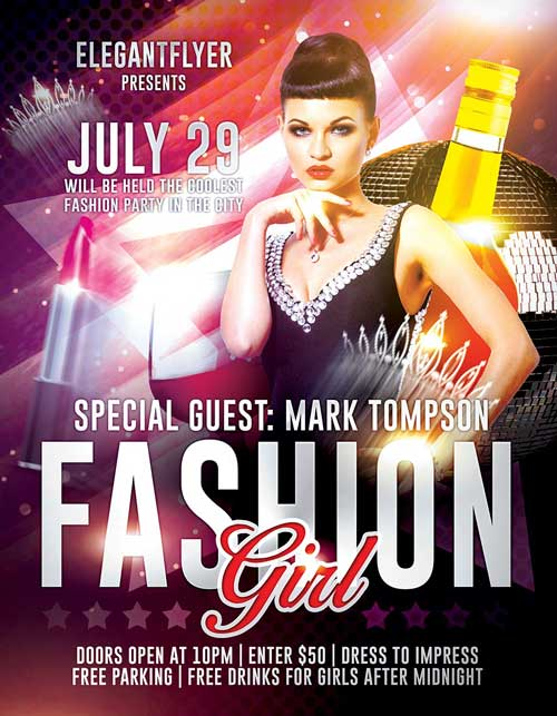 Free Fashion Girl PSD Flyer Template