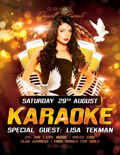 Free Karaoke Party PSD Flyer Template