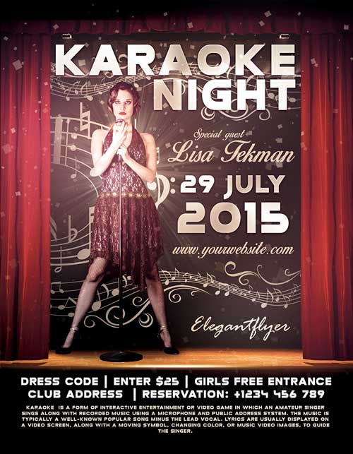 Freepsdflyer  Free Karaoke Night Psd Flyer Template