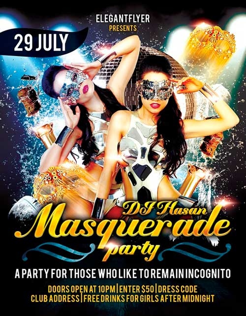 Free Masquerade Party Flyer Template