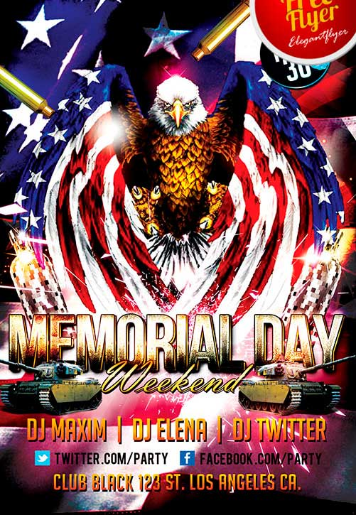 Free Memorial Day Weekend Party Flyer Template