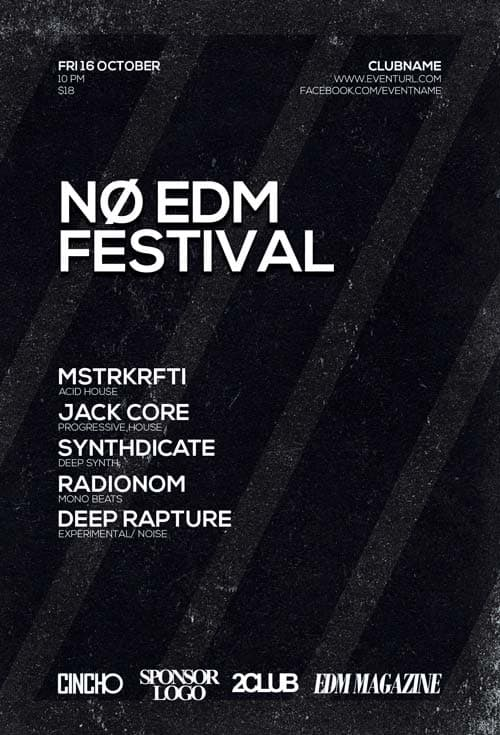 FreePSDFlyer Free No EDM Festival Flyer Template PSD Download - Black and white flyer template free