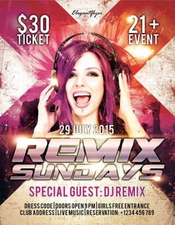 Free Remix Sundays PSD Flyer Template