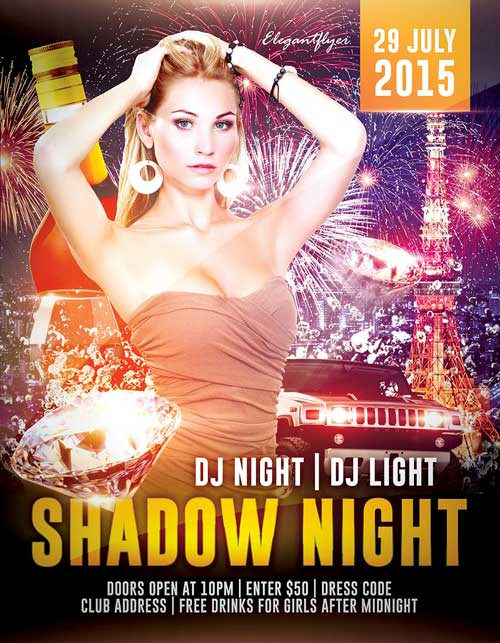 Free Shadow Night PSD Flyer Template