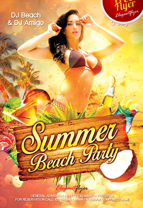 Free Summer Beach Party Flyer Template PSD Download – Beach Party Flyer Template
