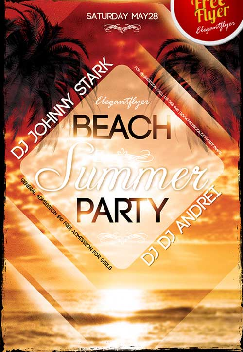 Summer Beach Party Free PSD Flyer