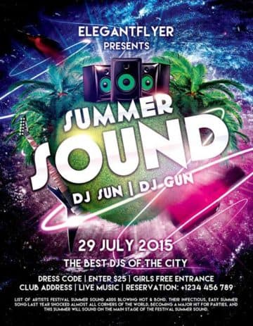 Free Summer Sound Party PSD Flyer Template