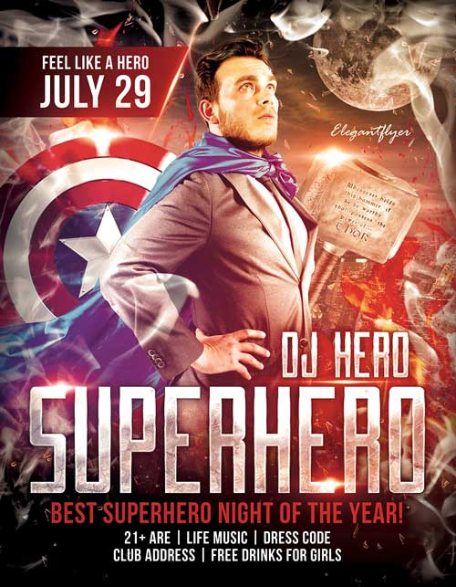 Free Superhero Night PSD Flyer Template