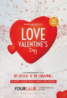 Love Valentine's Day Free Party Flyer Template