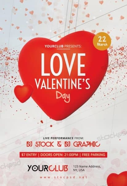 love valentine s day free party flyer template for v day club events. Black Bedroom Furniture Sets. Home Design Ideas