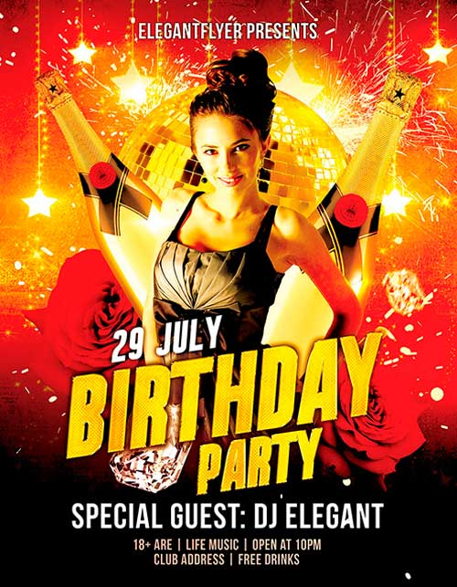 Free Birthday Party PSD Flyer Template