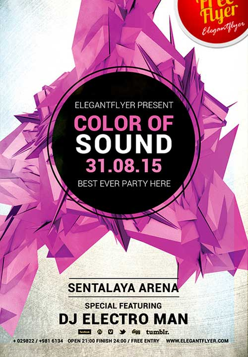 Free Color Of Sound PSD Flyer Template