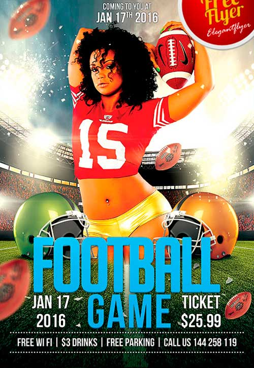 download free football game psd flyer template
