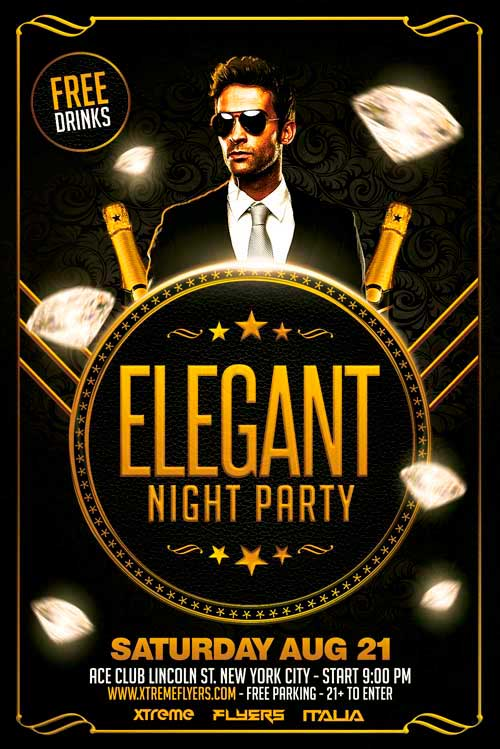 Freepsdflyer  Download Free Elegant Party Flyer Template