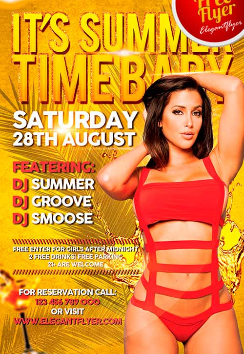 It's Summer Time Baby Free PSD Flyer Template
