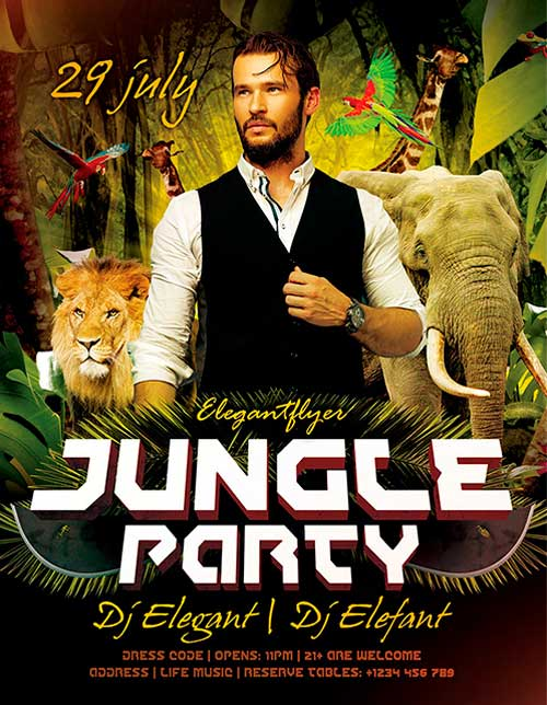 Free Jungle Party PSD Flyer Template