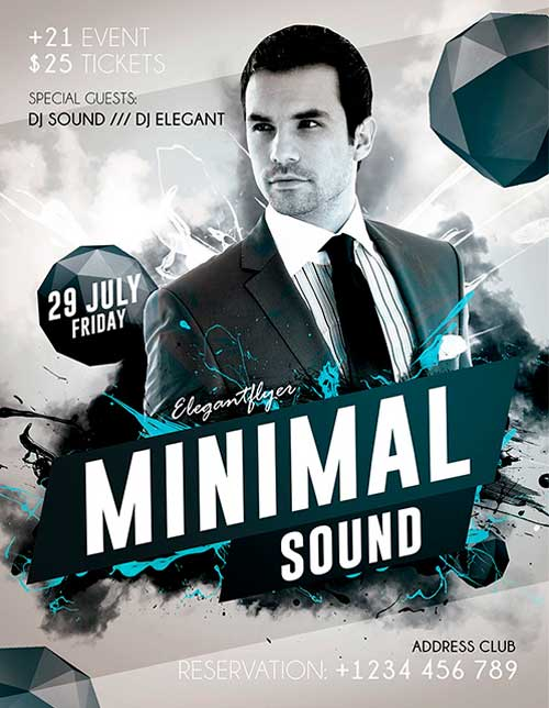 FreePSDFlyer | Minimal Sound Free PSD Flyer Template   Free PSD