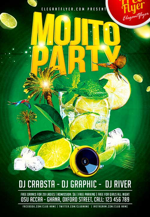 Free Mojito Ice Party PSD Flyer Template