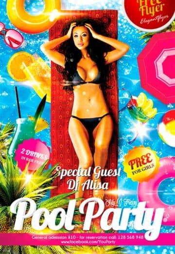 Free Pool Party PSD Flyer Template
