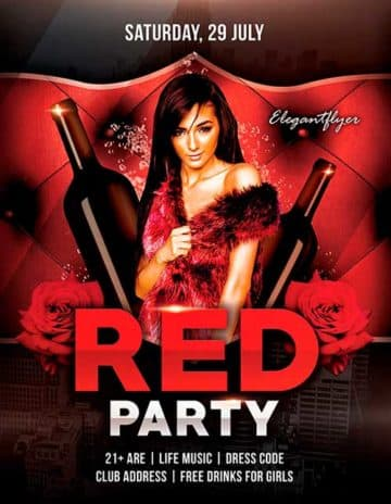 Free Red Party PSD Flyer Template