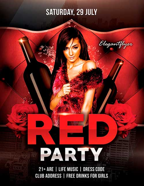 Download Free Red Party Psd Flyer Template