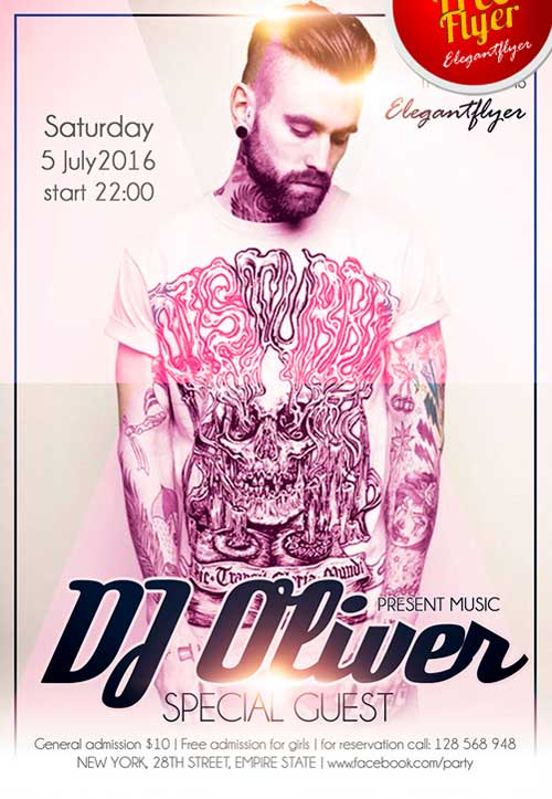 Free Special Guest DJ Oliver PSD Flyer Template