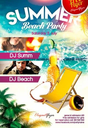 Free Summer Beach Party PSD Flyer Template