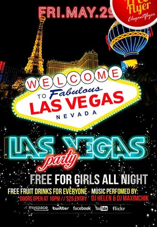 Freepsdflyer Download Free Las Vegas Party Psd Flyer
