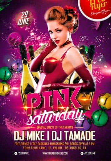 Free Pink Saturday Party PSD Flyer Template