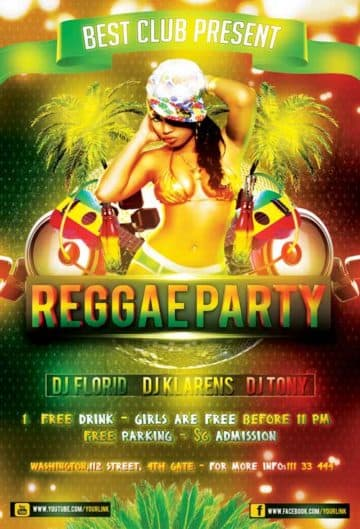 Free Reggae Party Flyer PSD Template